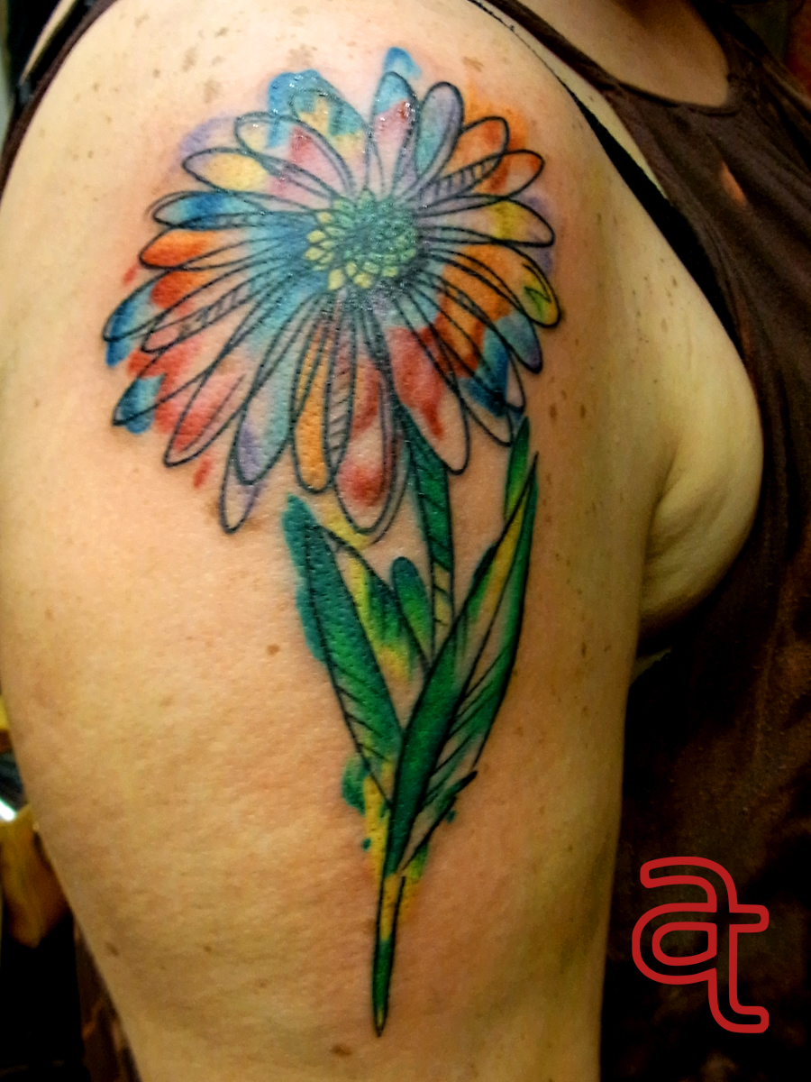 Watercolor flower by Dr.Ink - Atkatattoo - Cambodia