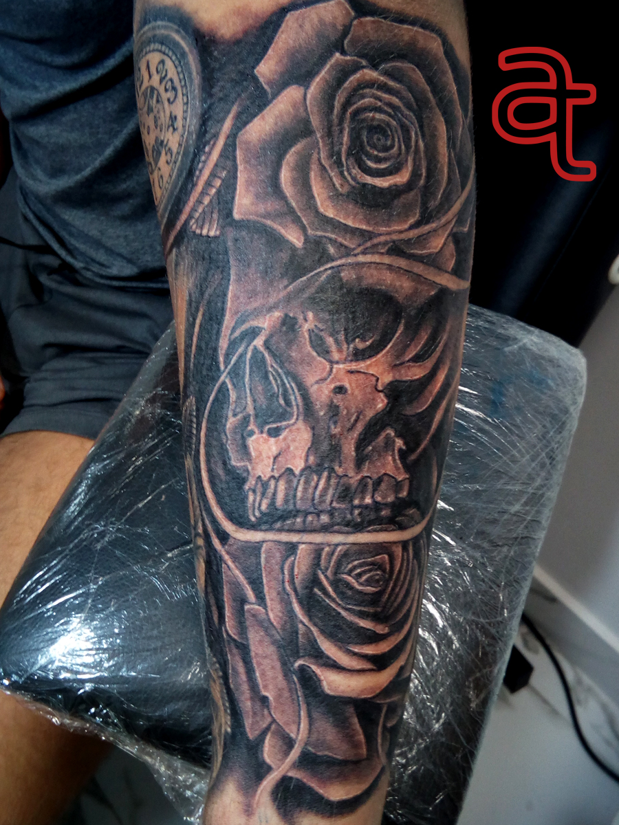 Skull Roses Tattoo Atka Tattoo